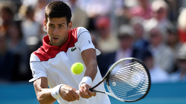 Novak Djokovic in action during a second-round match against Bulgaria's Grigor Dimitrov