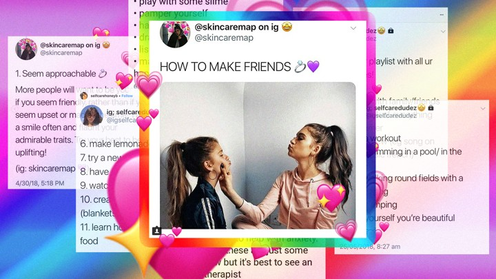 "Screenshots of advice on Instagram, including a post that reads ""How to Make Friends"""