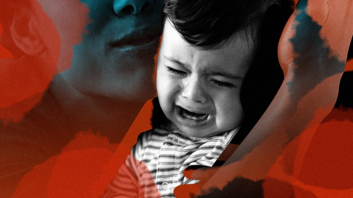 A photo illustration of a crying child next to a parent