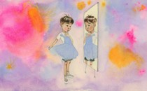 An illustration of a boy holding a dress up to his body and looking in the mirror.