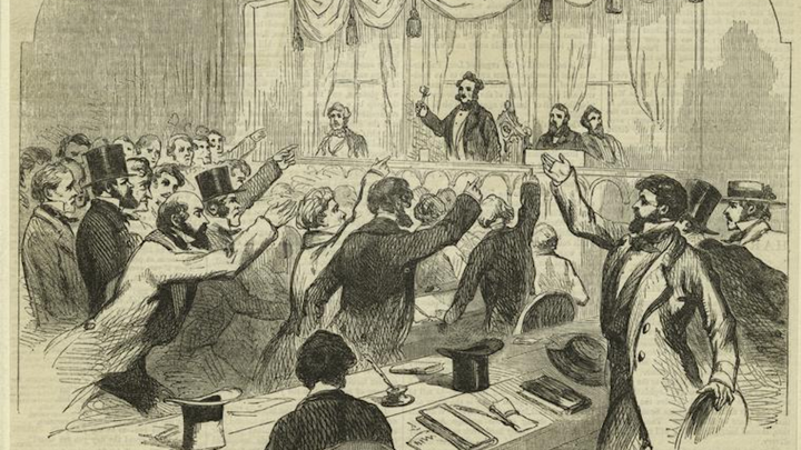An illustration of men in mid-19th-century dress raising their hands toward a person holding a gavel