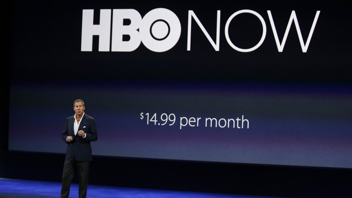 HBO CEO Richard Plepler talks about HBO Now for Apple TV during an Apple event in San Francisco.