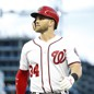 The Washington Nationals right fielder Bryce Harper reacts after being tagged out on a single in the third inning of a game against the Miami Marlins at Nationals Park