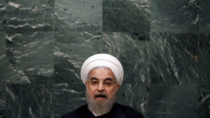 Iranian President Hassan Rouhani speaks at a United Nations meeting in 2015