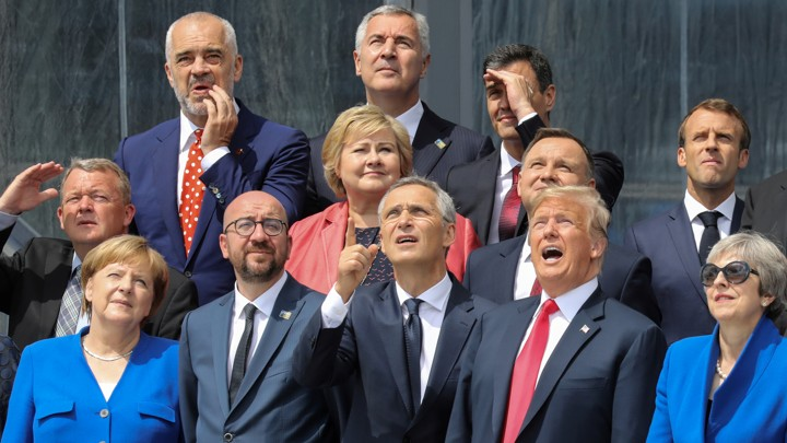 World leaders look confused in a group photo at the NATO summit.