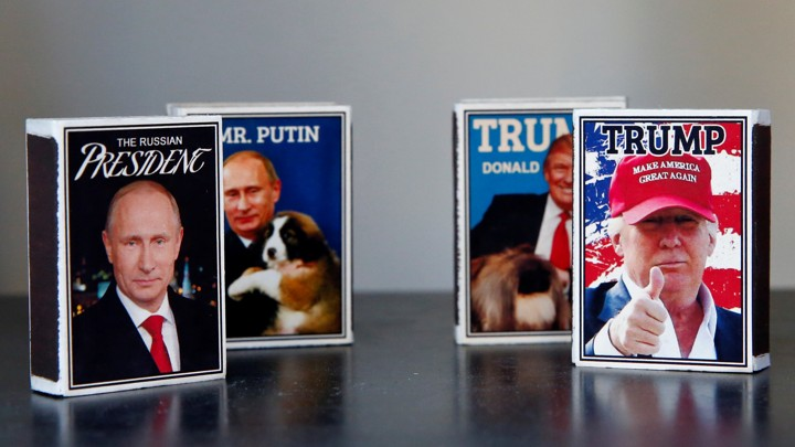 Matchboxes with images of Trump and Putin in a shop window in Helsinki, Finland