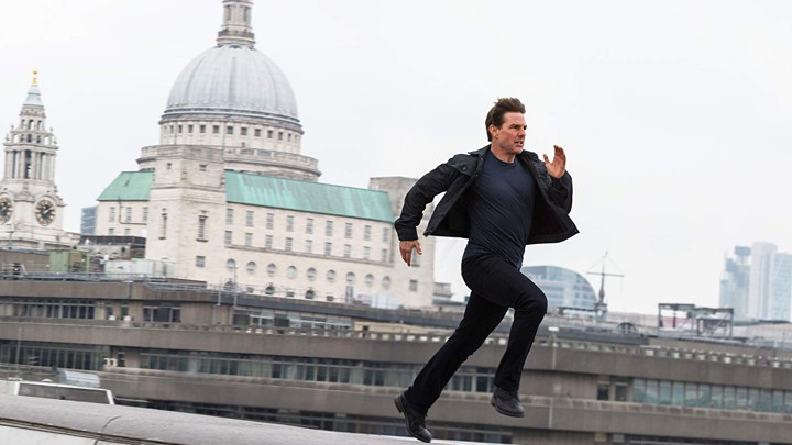 Tom Cruise as Ethan Hunt running to save the world