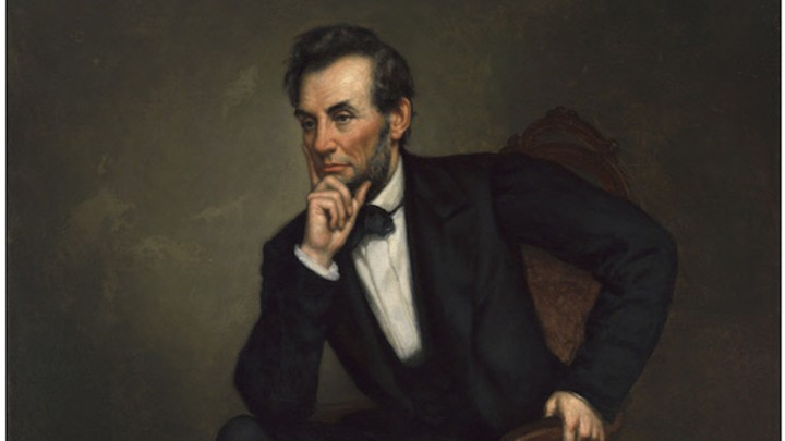 This 1887 oil painting is one of four portraits of Abraham Lincoln that George Peter Alexander Healy painted after the president's death.