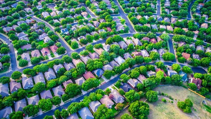 An aerial photo of suburban homes