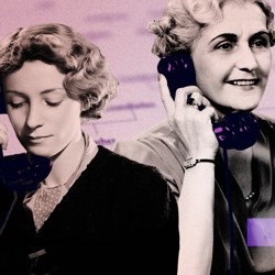Two women, one older and one younger, talk to each other on the phone