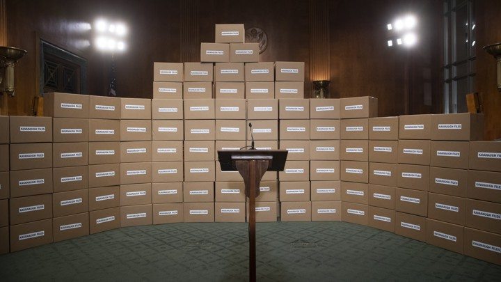 A wall of boxes representing the documents Senate Democrats are requesting related to Brett Kavanaugh.