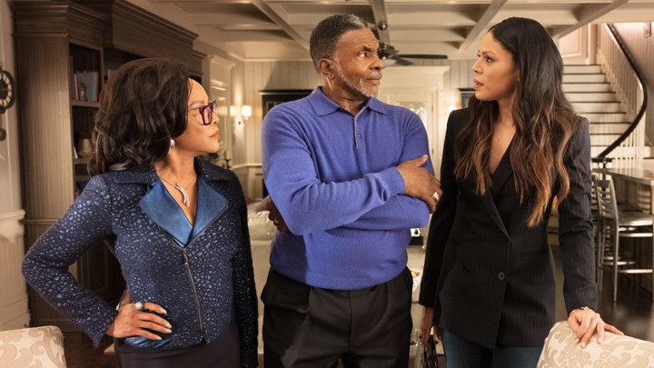Mae, James, and Gigi Greenleaf (Lynn Whitfield, Keith David, and Merle Dandridge) ponder the future of their church and their family