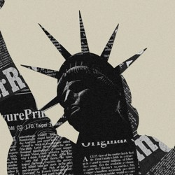 Picture of newspaper on top of Statue of Liberty