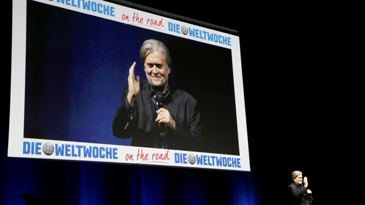 Former White House Chief Strategist Steve Bannon speaks during a conference in Zurich, Switzerland, on March 6, 2018.