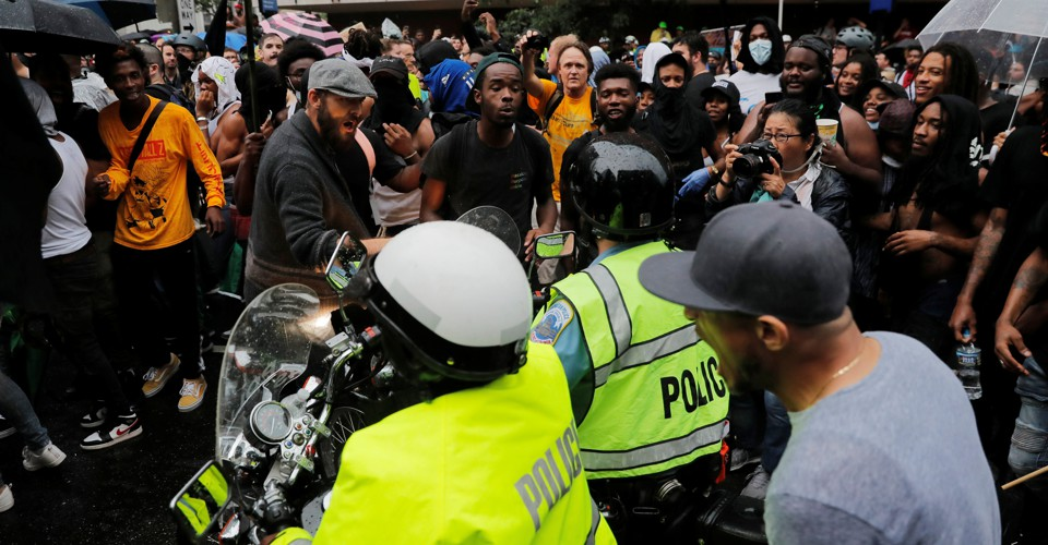 photo image Unite the Right Fizzles Amid a Boisterous Counter-Protest