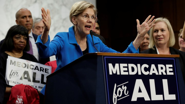 Senator Elizabeth Warren speaks at an event to introduce the Medicare for All Act of 2017.