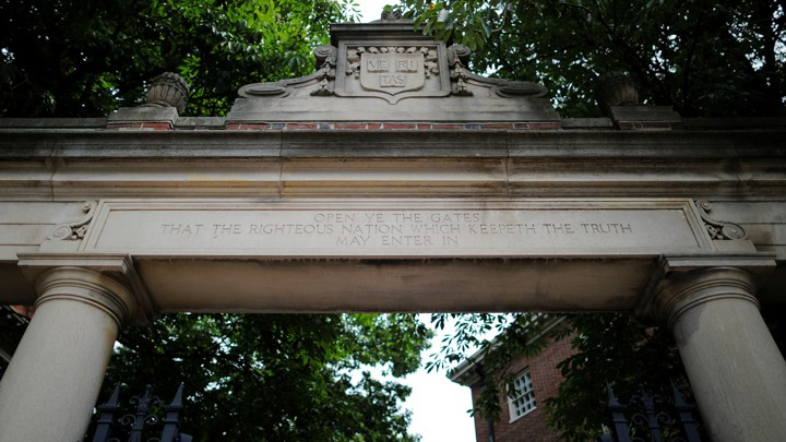 A gate to Harvard University