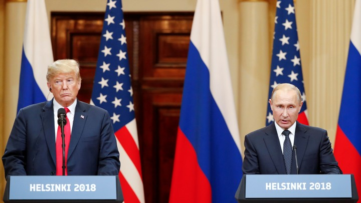 President Donald Trump and Russian President Vladimir Putin pictured during their summit in Helsinki on July 16, 2018