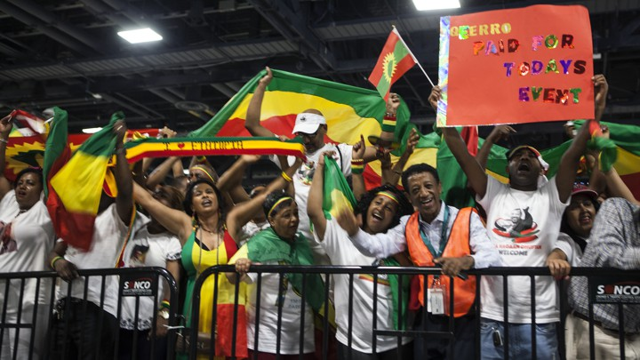 Ethiopians gather to hear Abiy Ahmed, the country's new prime minister, speak in Washington, D.C.