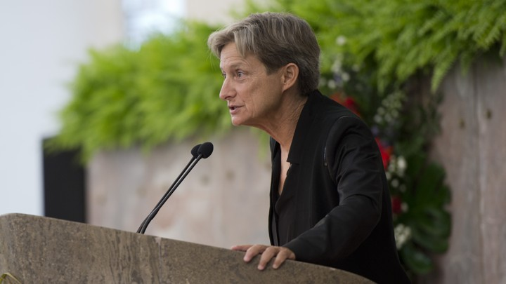 "Judith Butler delivering her Adorno Prize lecture, ""Can One Lead a Good Life in a Bad Life?"""