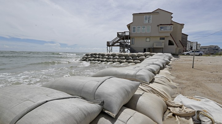Sandbags surround homes on North Topsail Beach, North Carolina, as Hurricane Florence threatens the East Coast.