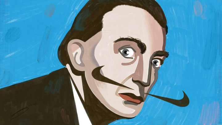 Dali with mustache made up of Nike logos