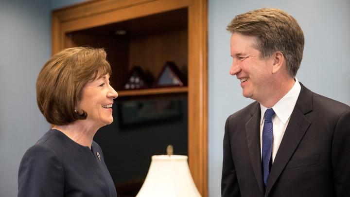 U.S. Supreme Court nominee Brett Kavanaugh meets with U.S. Senator Susan Collins on August 21, 2018