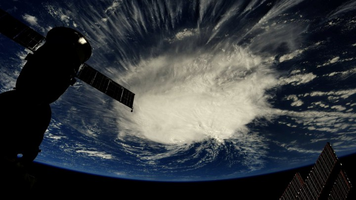 Hurricane Florence seen swirling over the Atlantic Ocean from space