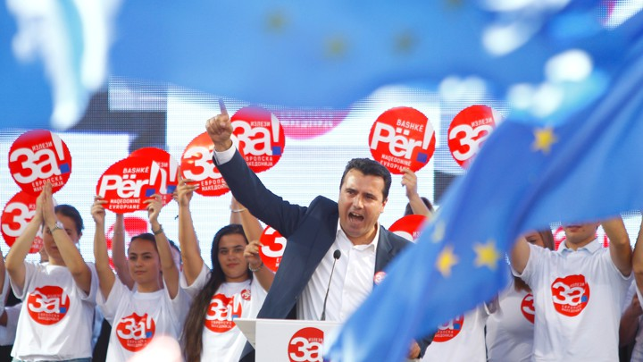 Macedonian Prime Minister Zoran Zaev addresses a crowd.
