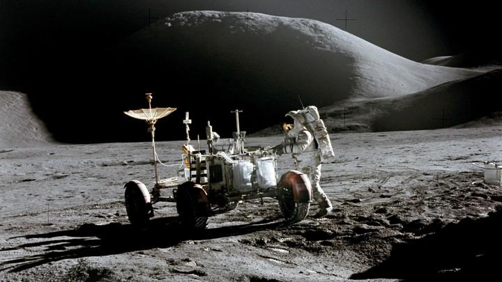 An Apollo astronaut on a moonwalk in 1971