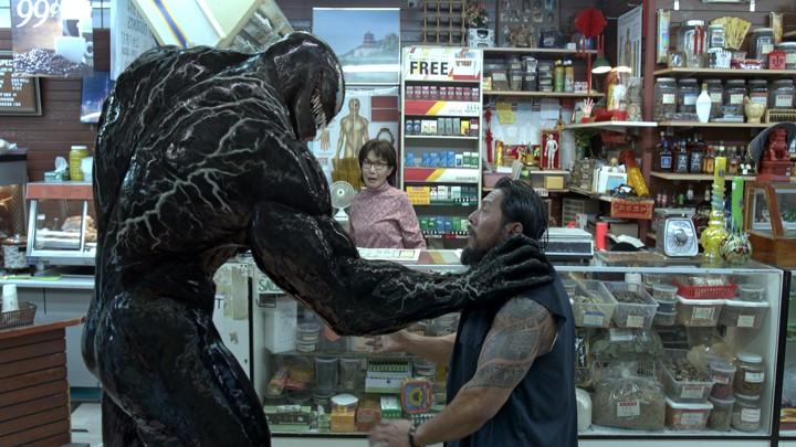 Tom Hardy as Venom on the attack