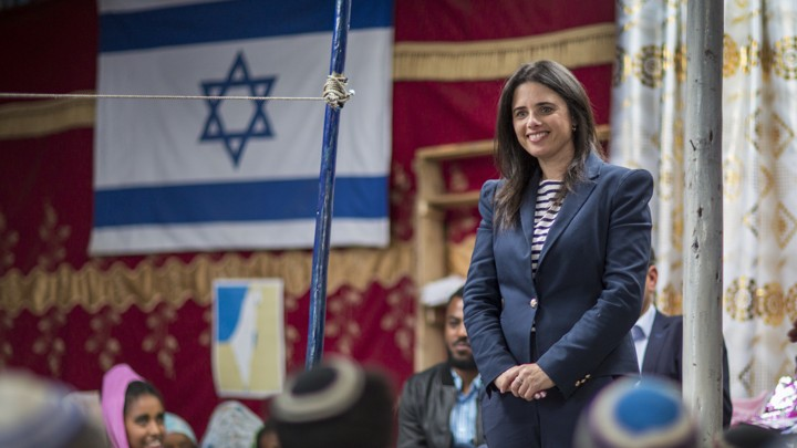 Ayelet Shaked visits a synagogue in Ethiopia in April.