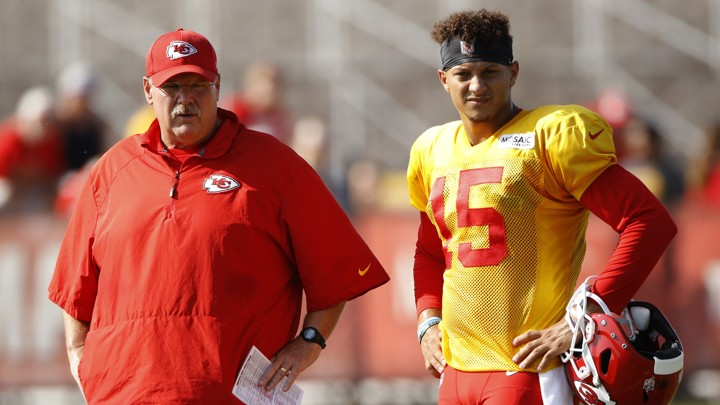 Kansas City Chiefs quarterback Patrick Mahomes and coach Andy Reid.