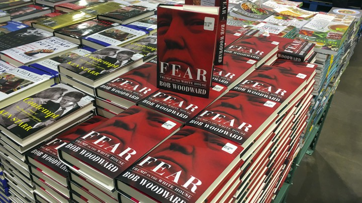 "Stacks of ""Fear"" at a bookstore"