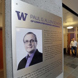 A plaque with a photo of Paul Allen