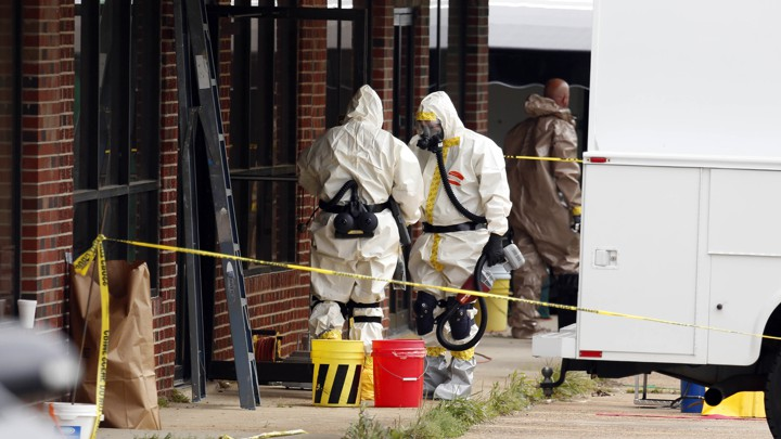 Authorities search the studio of man who sent the 2013 ricin letters.
