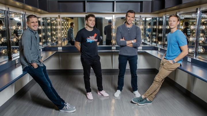Dan Pfeiffer, Jon Lovett, Jon Favreau, and Tommy Vietor pose for a portrait