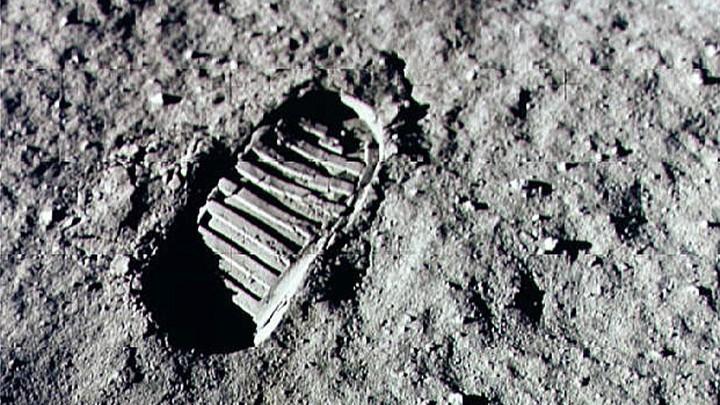 An Apollo 11 astronaut's footprint in the lunar soil