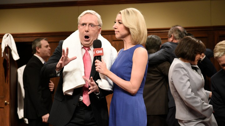 Beck Bennett as Mitch McConnell and Heidi Gardner as Dana Bash