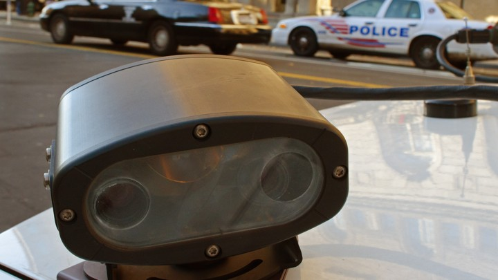 A license-plate reader mounted to a police car in Washington, D.C.