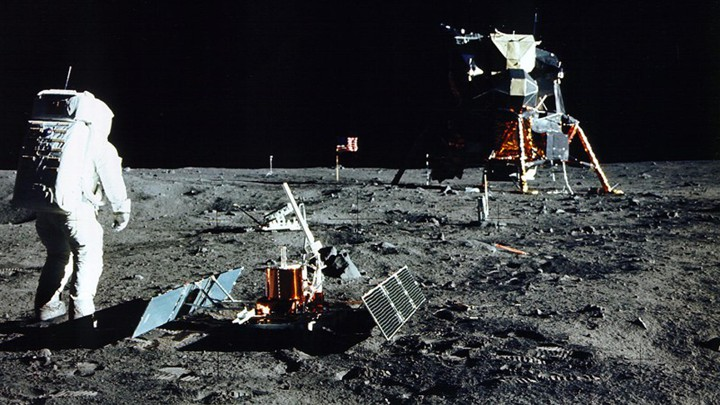 A photograph of the astronaut Buzz Aldrin on the moon