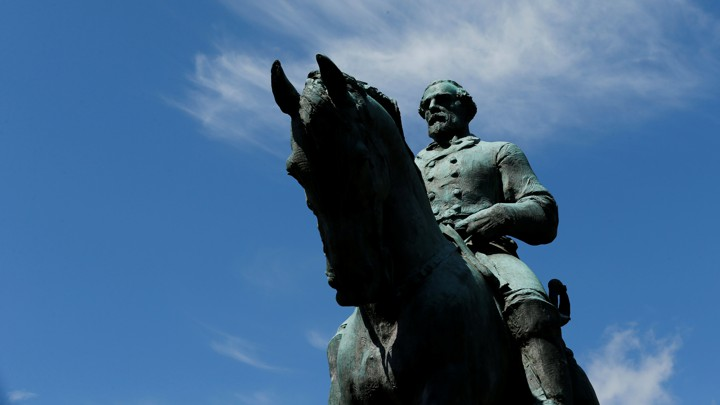 A statue of Robert E. Lee in Charlottesville, Virginia
