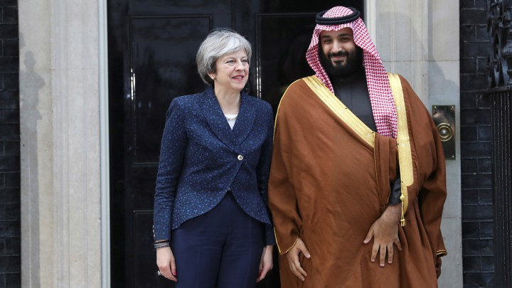 British Prime Minister Theresa May and Saudi Crown Prince Mohammed bin Salman meet in London in March.