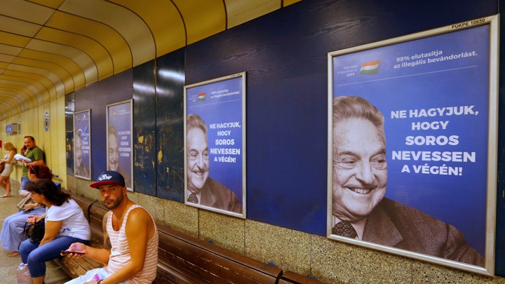 A Hungarian government poster of George Soros