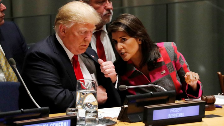 President Donald Trump and UN Ambassador Nikki Haley during the United Nations General Assembly