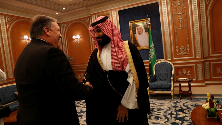 Saudi Crown Prince Mohammed bin Salman greets Mike Pompeo in Riyadh this week.