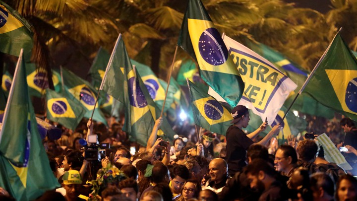 Supporters of Jair Bolsonaro celebrate his victory in Brazil's presidential elections.