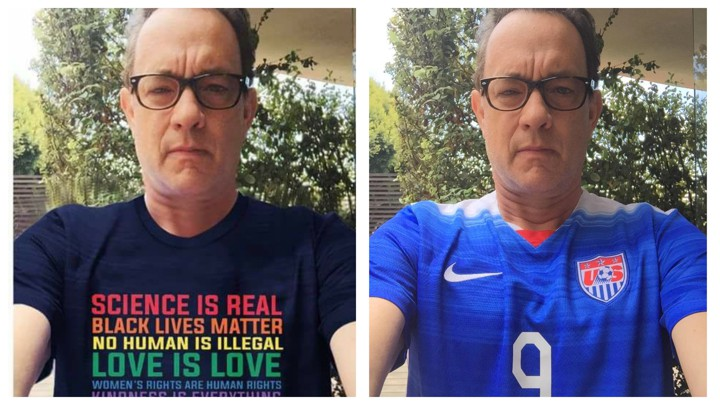 "A doctored photo of Tom Hanks was shared by an alleged Iranian propaganda page, ""No racism no war"""