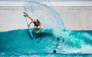 A surfer in a wave pool at Waco, Texas
