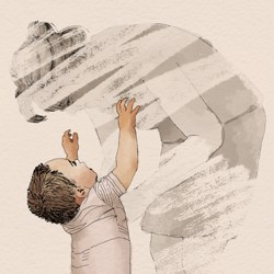 A child reaches up to their parent
